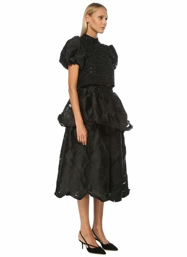 Sister Jane Sister Jane  Yüksek Bel Çiçekli Volanlı Midi Etek 101578084 Siyah